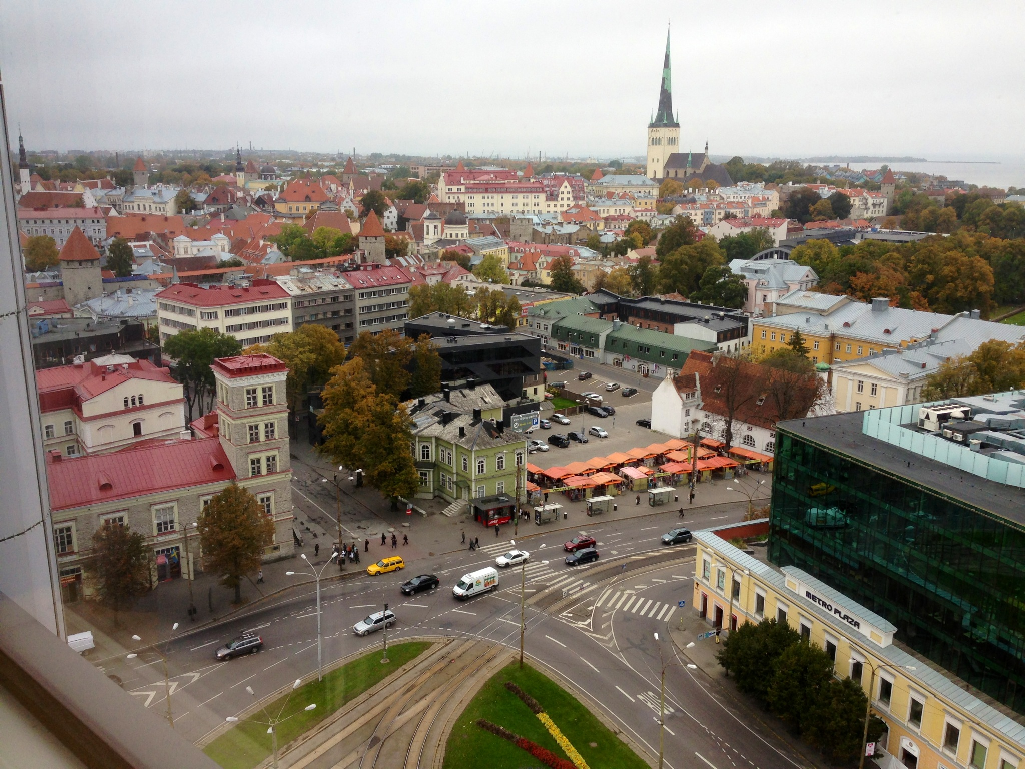 Our view of Tallinn from our room in the Viru Hotel