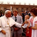 Living Sound Audience with Pope John Paul II, August 13, 1980 showing His Holiness with Mike, Nancy and Baby Carrie (4 mo.) McKibben